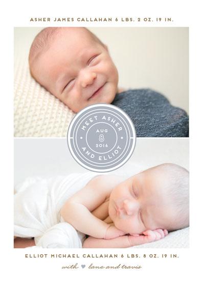 birth announcements - Twin Emblem by Jennifer Postorino