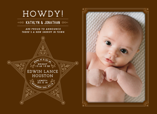 birth announcements - Howdy! by Margot Piper