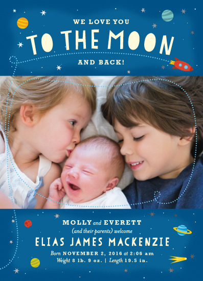 birth announcements - To the Moon! by Margot Piper