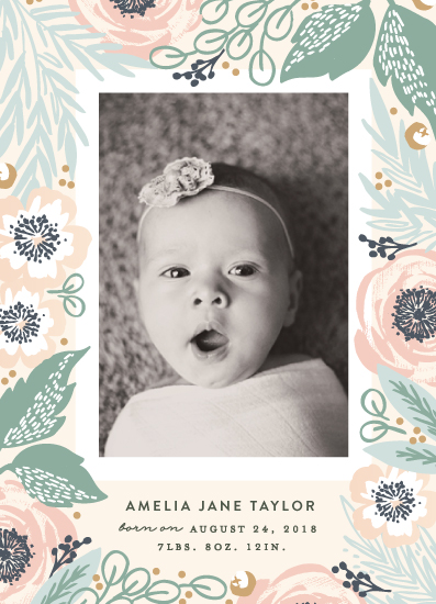 birth announcements - Framed with Florals by Alethea and Ruth