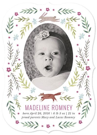 birth announcements - Woodland Floral by Lauren Waltman