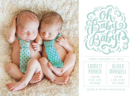 birth announcements - Oh Baby Baby by Laura Bolter Design