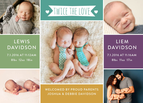 birth announcements - Love in Pairs by Tennille Hopper