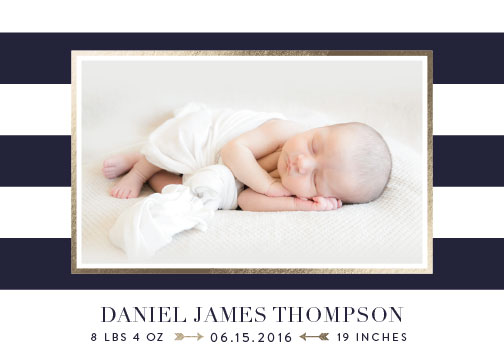 birth announcements - Classic Stripe by Sarah Brown
