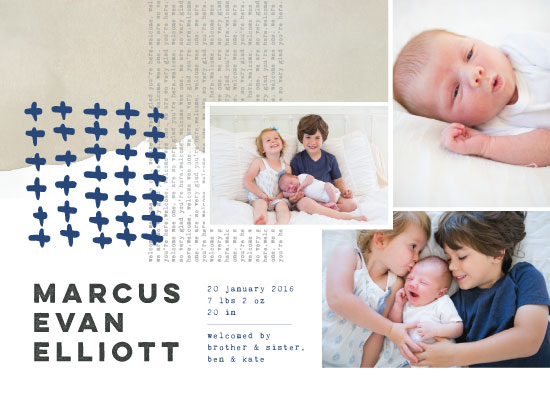 birth announcements - Layered Welcome by Peridot Design