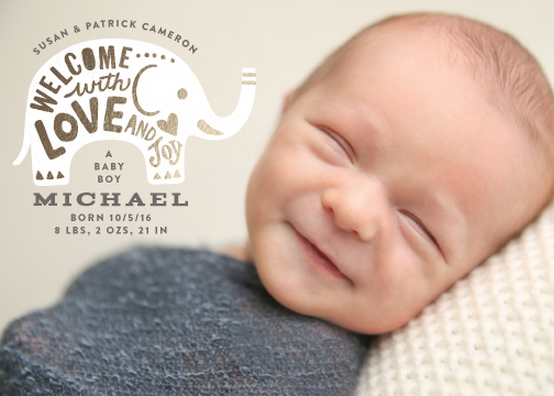 birth announcements - With Love and Joy by Griffinbell Paper Co.