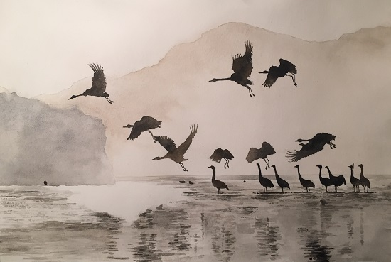 art prints - Cranes on a lake by XL