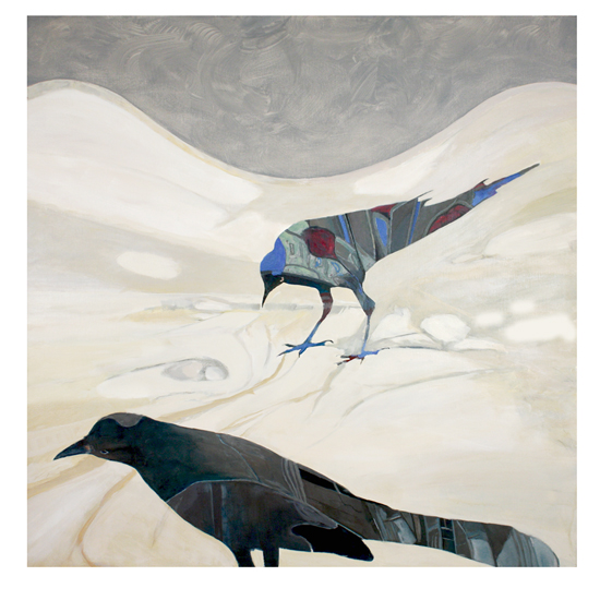 art prints - two birds on cream by Patricia Robitaille