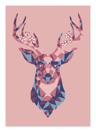 art prints - Geometric Deer by Rachel Kennison