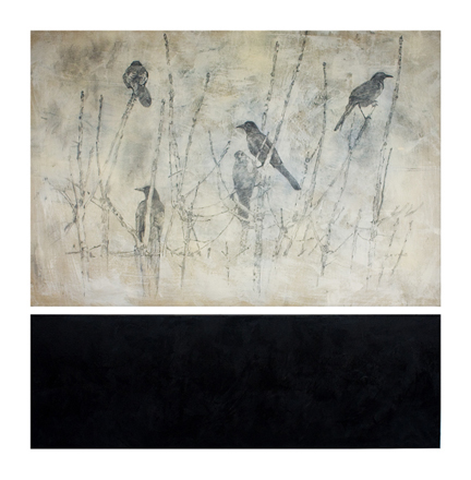 art prints - black birds on branches by Patricia Robitaille