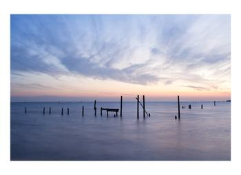 Sea, Wavy Cirrus Clouds and Pier Remnants