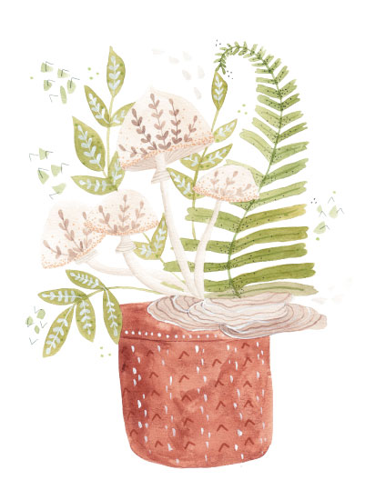 art prints - Ferns and Mushrooms watercolor by Sarah Ehlinger
