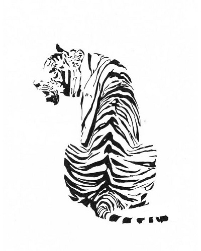 art prints - Sitting Tiger by Rachel Knight