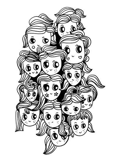 art prints - Cute Hair Girls by Tonya Doughty