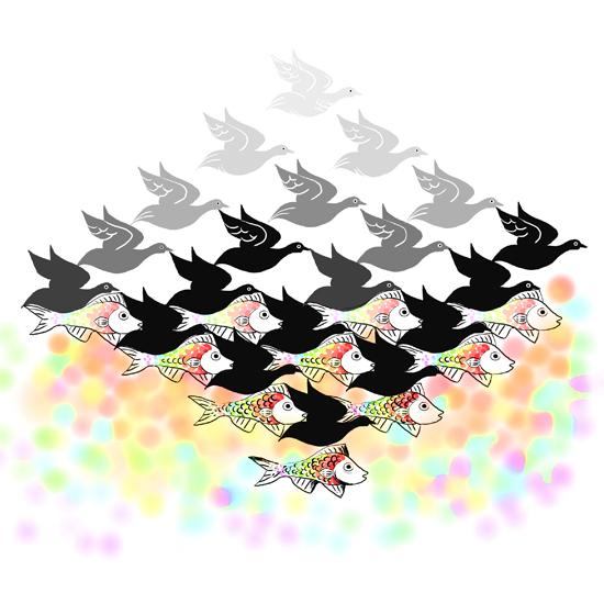 art prints - Escher for Kids Pastel by Shom Teoh