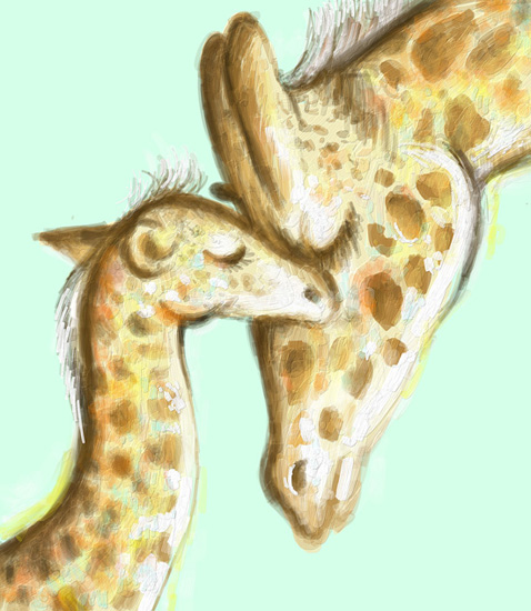 art prints - Giraffe Mother & Baby 1 by Shom Teoh