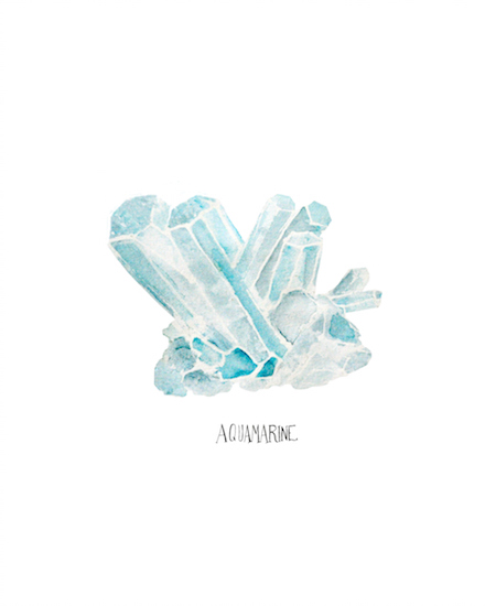 art prints - Aquamarine crystals by Jennifer Rizzo