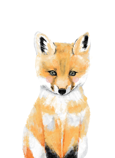 art prints - woodland baby fox by Cass Loh