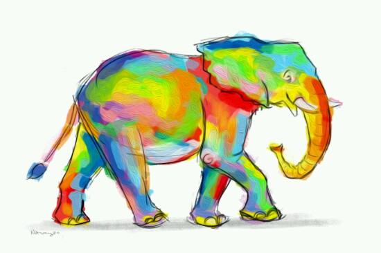 art prints - Elephant Love by Ron Notarangelo