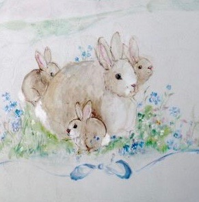 art prints - Mama Bunny with her Babies by Diane Voyentzie