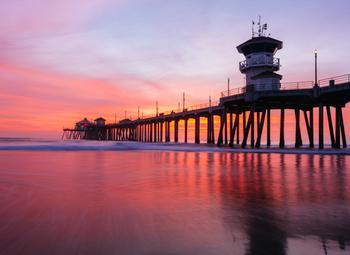 Pink sunset in Huntington Beach