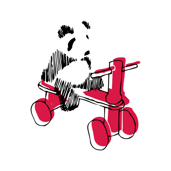 art prints - Panda on a red tricycle by Jessie G