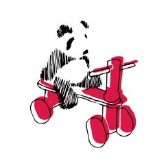Panda on a red tricycle