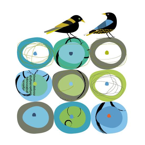 art prints - Bird Carnival by Marjie Best