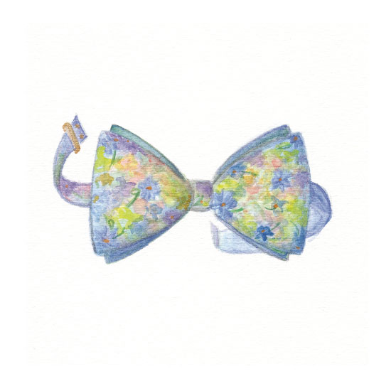 art prints - Blue Floral Bow by Julie and Sara