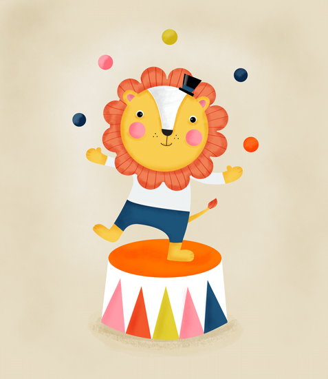 art prints - Lenny the Lion - Circus Series by Hello Happy Studio