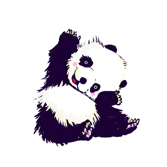 art prints - Happy waving panda by Shom Teoh
