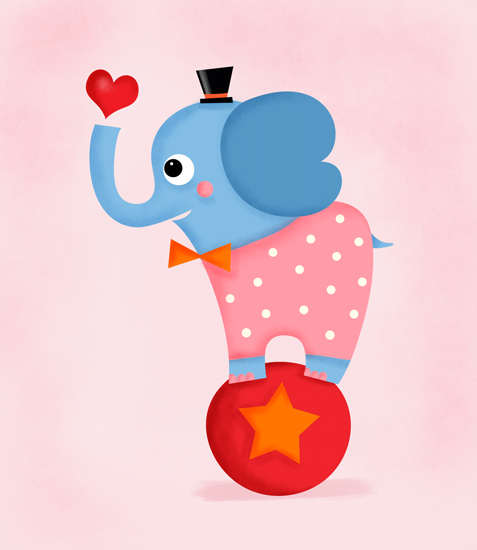 art prints - Evie the Elephant - Circus Series by Hello Happy Studio