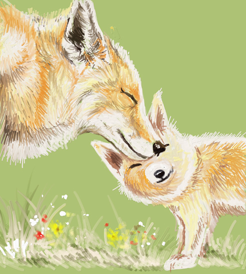 art prints - Fox Mama and Baby 1 by Shom Teoh
