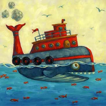 art prints - Whale Tugboat by Michelle Dowd