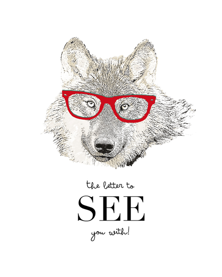 art prints - Hipster Wolf by Thoroughly Curly Designs