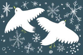 art prints - Doves in the Snow by Cait Brennan
