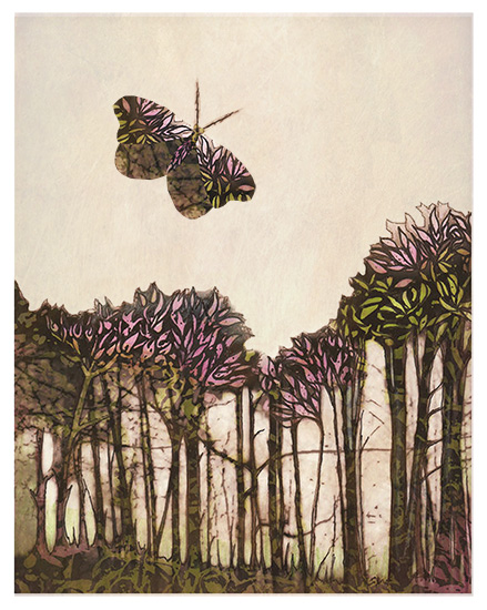 art prints - batik flutter above the trees by Elsa K
