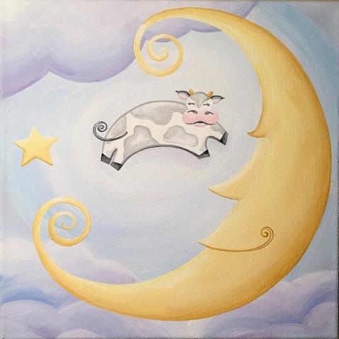 art prints - Over The Moooon by Playful Paints LLC