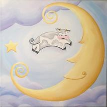 Over The Moooon by Playful Paints LLC
