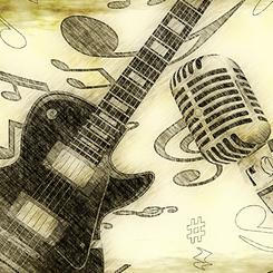 Vintage Guitar & Microphone