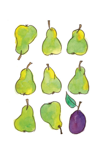 art prints - Pears and a Plum by Island Art and Soul