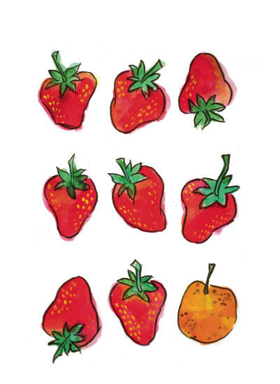 art prints - Strawberries and a Clementine by Island Art and Soul