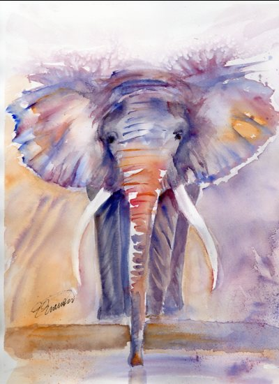 art prints - Elephant Power by Ellen Evanow Watercolors