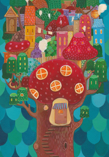 art prints - The Mushroom Tree Village by Jingwen Ma