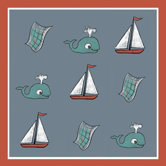 art prints - Map Whale Boat by Jeanne Hollington