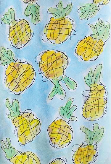 art prints - Dancing Pineapples by Emily Burlingame