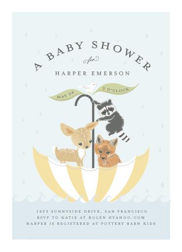 baby shower invitations - Umbrella Sailing by Susan Moyal