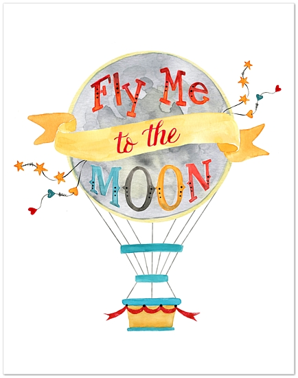 art prints - To the Moon in my Hot Air Balloon by Therese Dekker