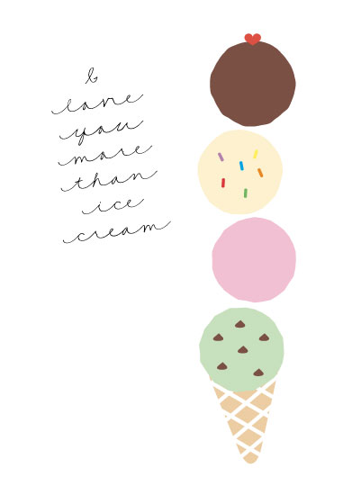 art prints - I Love You More Than Ice Cream by Lisa Krueger