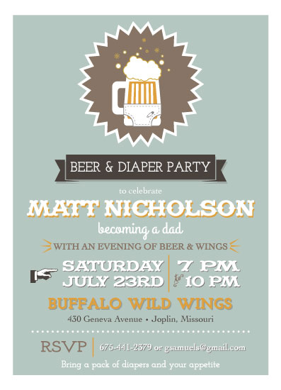 baby shower invitations Beer Diaper Party at Mintedcom